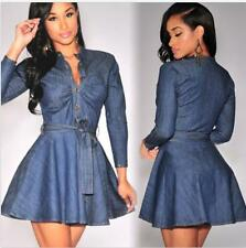 Sexy Womens Celeb Slim Denim Short Mini Dress Long Sleeve Shirt Dress Belted L50