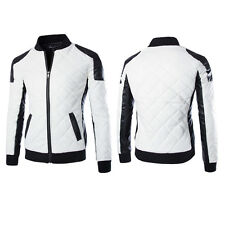 Fashion Men Casual Punk Motorcycle Slim Fit Faux PU Leather Jacket Cool Outwear