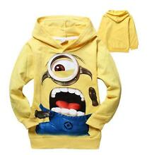 Childs Costume Despicable Me Minions Hoodie Kids Boys Girls Yellow Cartoon Hoody