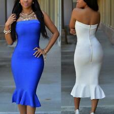 Sexy Women Strapless Bodycon Slim Evening Cocktail Prom Party Gown Dress S-XL