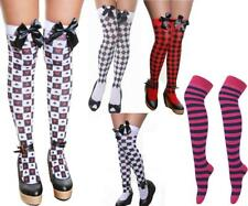 Ladies Knee Wonderland Stockings Red Queen Alice Cards Bow Chess Checked Socks