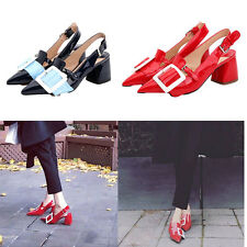 Women's Genuine Leather Shoes Slingbacks Heels Pointed Shoes Red Black Party New
