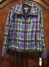 RALPH LAUREN ACTIVE NEW Plaid Front Zipper Inside Mesh Windbreaker Jacket $169