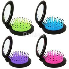 Foldable Round Hair Comb Massage Hair Scalp Brush with Mirror Healthcare Make up