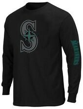 Seattle Mariners Mens Majestic Long Sleeve 2 Hit Chest Shirt Big & Tall Sizes