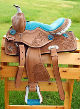 "10"" 12"" Western Youth Saddle Natural Med Oil Tooled BLUE Suede Seat HSBC Just In"