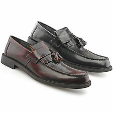 Mens New Oxblood Black Hi Shine Leather Toggle Saddle Loafer  Shoes 6 - 12