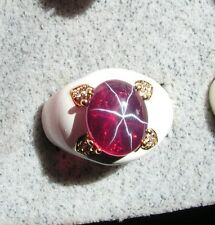 EPOXY LINDE LINDY TRANSPAR RED STAR SAPPHIRE CREATED RUBY SECOND RING YGP NPM