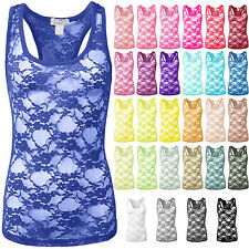 NE PEOPLE Womens Sexy Basic Floral Sheer Racerback Stretch Tank Top NEWT238