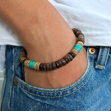 Mens Wood Bracelet Turquoise Brown Wood 8mm beads Surfer Handmade Wristband Gift