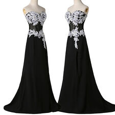 Strapless Lace Applique Formal Dress Princess Evening Ball Gown Bridesmaid Party