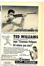 CROSMAN PELLGUNS TED WILLIAMS WITH CROSMAN 400 GAS-POWERED REPEATER  1958 AD