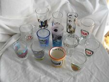 Shot Glasses Lot of 13 Beverly Hills CIA Cayman Islands Las Vegas Florida Iowa