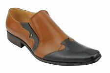 Mens Real Leather Tan Black 2 Tone Loafer Italian Style Shoes Size 6 7 8 9 10 11