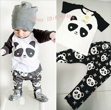 Lovely Newborn Toddler kids Boys/Girls Outfits Panda T-shirt+ Pants Clothes Sets