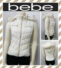 bebe LOGO HOODED PUFFER VEST JACKET SEXY WOMEN SIZE XS (NEW)