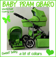BABY PRAM QBARO  2 IN 1 PUSHCHAIR AND CARRY COT