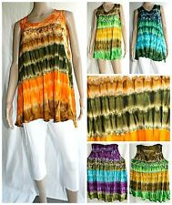Women Tie Dye Embroidered Batik Tops Sun dress  Beach Summer Teen S/M/L/XL
