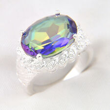 Florid Holiday Gift Oval Rainbow Mystic Topaz Gems Silver Plated Ring Sz O Q S