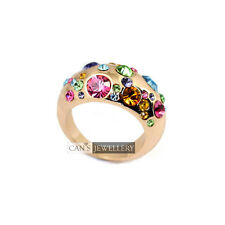18K Rose Gold Plated Colourful SWAROVSKI Crystal Wedding Band Ring R501