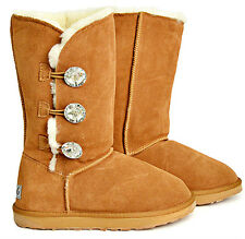Ladies 3 Bailey Glass Button Fashion Ugg Boots  Premium Australian Sheepskin