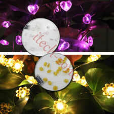 SUNFLOWER/HEART BATTERY OPERATED COPPER WIRE LED FAIRY STRING LIGHT XMAS LAMP UK