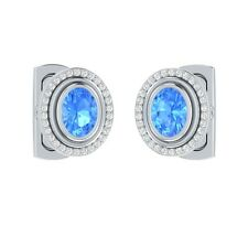 2.90 ct Natural Oval Cut Blue Topaz & Certified Diamond Solid Gold Cufflinks