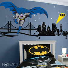Batman Wall decal Super Hero Cityscape - Avengers Wall sticker for Kids Room