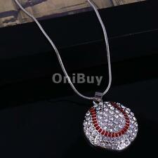 Pendant Rhinestone Necklace in Heart Football Volleyball Chain Style Jewelry