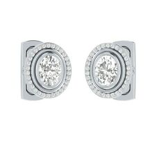 2.90 ct Natural Oval Cut White Topaz & Certified Diamond Solid Gold Cufflinks