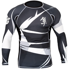 Hayabusa Metaru 47 Long Sleeve Rashguard (Black/White) - bjj ufc mma