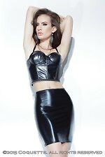 Coquette High Waisted Little Black Leather/PVC Look Wet Look Mini Skirt S/M/L