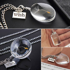Hot Clear Crystal Ball Real Dandelion Seed Wishing Wish Pendants Long Necklace