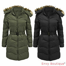 LADIES PUFFER QUILTED ZIP PADDED BELTED WOMENS WARM WINTER PARKA JACKET COAT