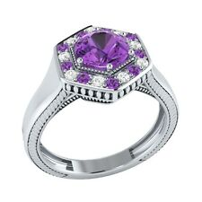 0.75 ct Real Amethyst & Certified Diamond Solid Gold Wedding Engagement Ring