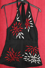 House of Fraser linea black embroidered lined halter neck top Size 12