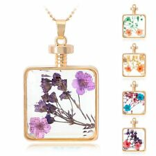 Real Dried Pressed Flower Pendant Necklace Square Style Glass Floating Locket