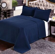 Luxury Navy Blue Quilted Wrinkle Free Microfiber Coverlet Set with Shams