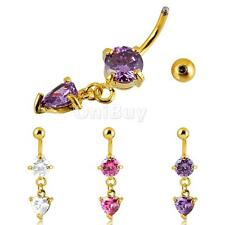 Heart Crystal Belly Dangle Button Bar Navel Ring Body Piercing Women Jewelry