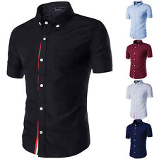 NEW Stylish Mens Casual Button Slim Fit Short Sleeve Casual Formal Dress Shirts