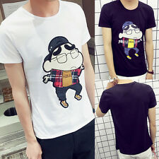Men Fashion Slim Fit Crew Neck Short Sleeve Casual T-Shirt Tops Anime Cosplay T