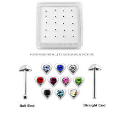 20 Pcs box 925 Sterling Silver 1.5 mm CZ in 3mm Heart Nose Stud Piercing Jewelry