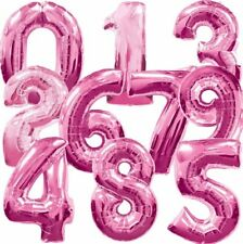 PINK LARGE NUMBER FOIL BALLOONS HELIUM 0-9 AGE BIRTHDAY PARTY + FREE WEIGHT