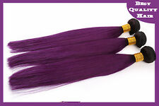 100g Ombre Purple Remy Brazilian Human Hair Extensions 2 Tone Straight Hair Weft