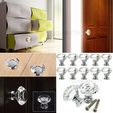 16PCS Charm Crystal Glass Door Knobs Drawer Cabinet Furniture Kitchen Handle UK