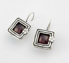 Glowing Hammered Solid 925 Sterling Silver Stud Earrings Red Garnet Square