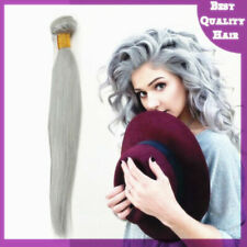 100g Brazilian Virgin Human Hair Extensions Long Straight Granny Gray Hair Weave
