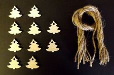 WOODEN MINI XMAS TREE GIFT TAGS XMAS DECORATION 30MM PACK OF 10 GIFTS WRAPPING