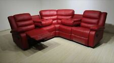 Roma Corner Red Recliner Cupholder Sofa  Free Mainland UK Delivery