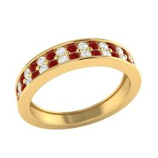 0.55 ct Real Ruby & Certified Diamond Solid Gold Half Eternity Wedding Band